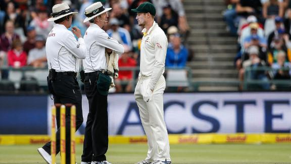 Australian fielder Cameron Bancroft was questioned by umpires during the third day of the third Test between South Africa and Australia.