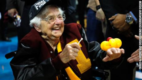 ATLANTA, GA - MARCH 24:  Sister Jean Dolores Schmidt celebrates with the Loyola Ramblers after defeating the Kansas State Wildcats during the 2018 NCAA Men's Basketball Tournament South Regional at Philips Arena on March 24, 2018 in Atlanta, Georgia. Loyola defeated Kansas State 78-62.  (Photo by Kevin C. Cox/Getty Images)