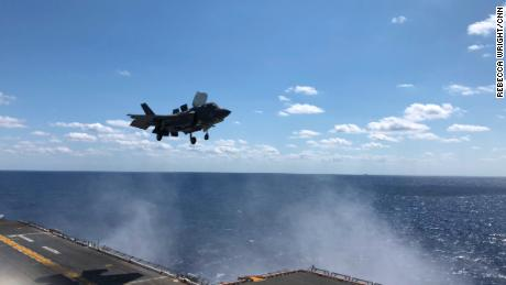 An F-35B doing vertical landing on the USS Wasp.