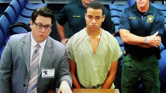 Zachary Cruz appears via closed-circuit TV for a March 20 court appearance in Fort Lauderdale, Florida.