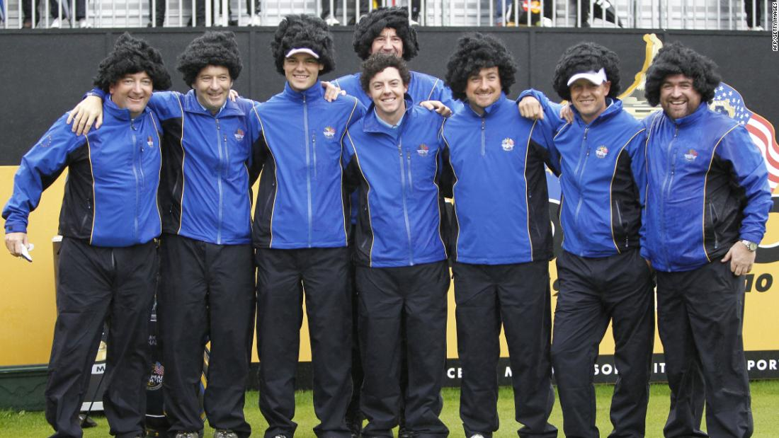 <strong>Hair raising:</strong> European Ryder Cup players and caddies wore wigs resembling Rory McIlroy's shock of curly dark hair ahead of a practice session for the 2010 event at Celtic Manor.