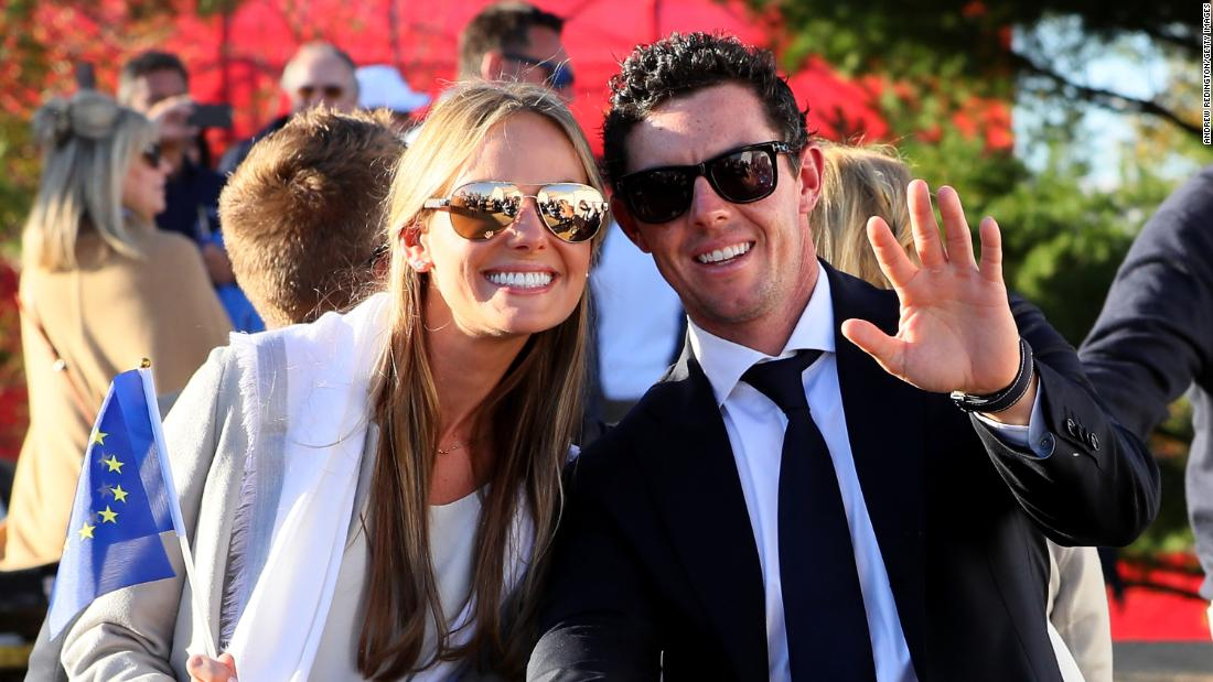 <strong>Love match: </strong>McIlroy was joined by partner Erica Stoll for the opening ceremony of the 2016 Ryder Cup at Hazeltine. The pair married the following year.