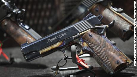 ATLANTA, GA - APRIL 29: Custom Remington pistols are displayed at the 146th NRA Annual Meetings & Exhibits on April 29, 2017 in Atlanta, Georgia. With more than 800 exhibitors, the convention is the largest annual gathering for the NRA's more than 5 million members.  (Photo by Scott Olson/Getty Images)