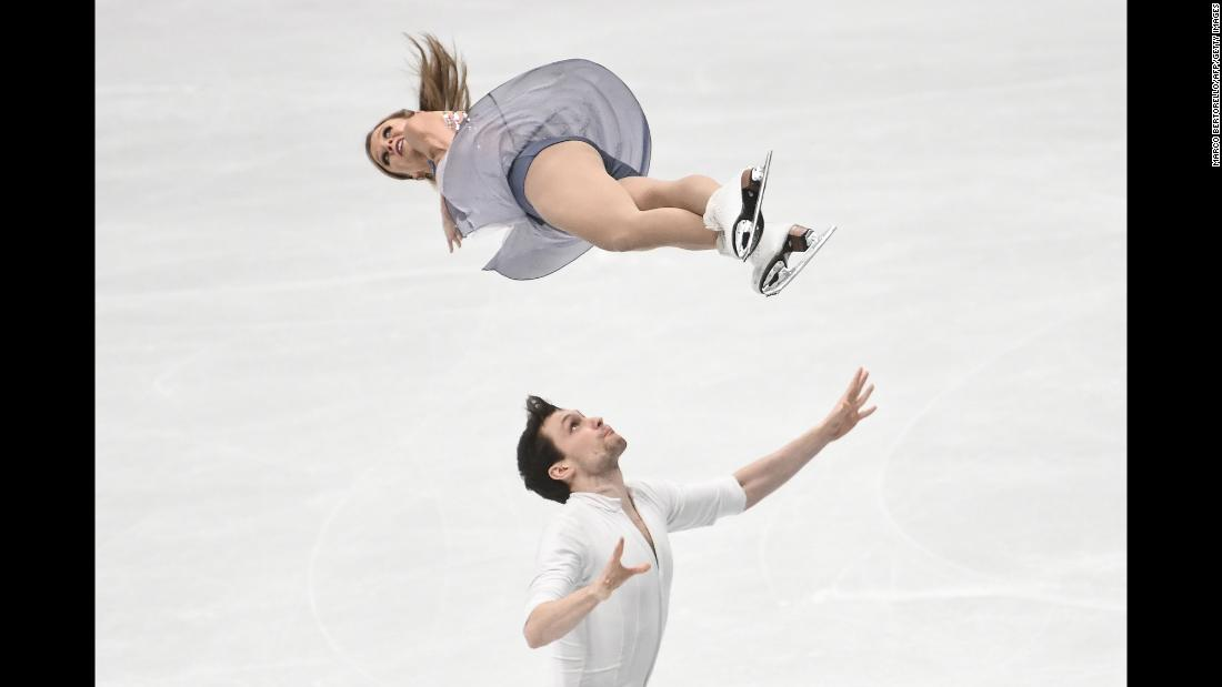 Canadian figure skaters Kirsten Moore-Towers and Michael Marinaro perform their free skate during the World Championships on Thursday, March 22.