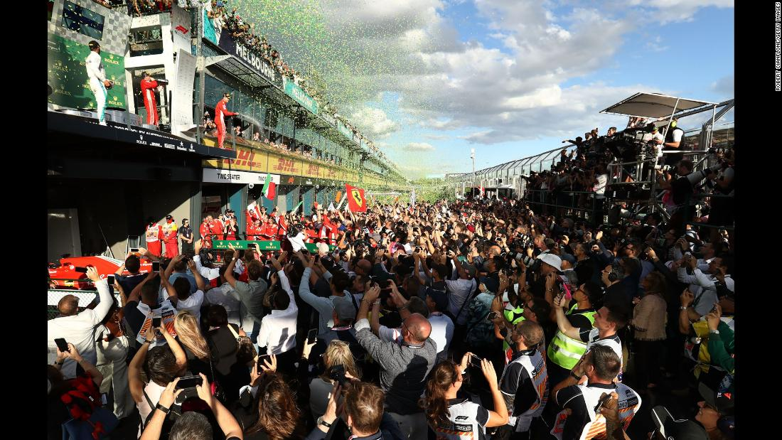 "Sebastian Vettel sprays champagne after <a href=""https://www.cnn.com/2018/03/25/motorsport/formula-one-australia-vettel-hamilton-haas/index.html"" target=""_blank"">winning the Australian Grand Prix</a> on Sunday, March 25. It was the first race of the new Formula One season."