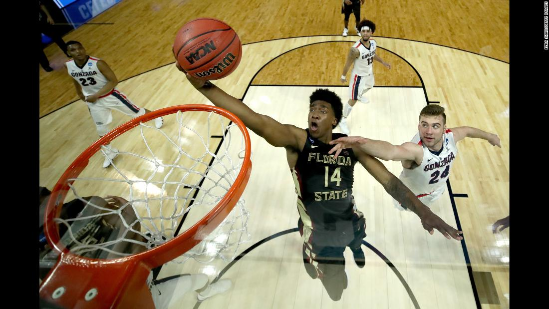Florida State guard Terance Mann rises for a shot during an NCAA Tournament game against Gonzaga on Thursday, March 22.