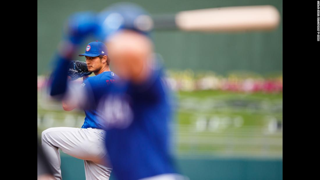 Yu Darvish, who signed with the Chicago Cubs this offseason, pitches against Texas during a spring-training game on Wednesday, March 21.