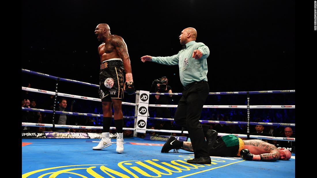 Dillian Whyte reacts after knocking out Lucas Browne in the sixth round of their heavyweight fight in London on Saturday, March 24.