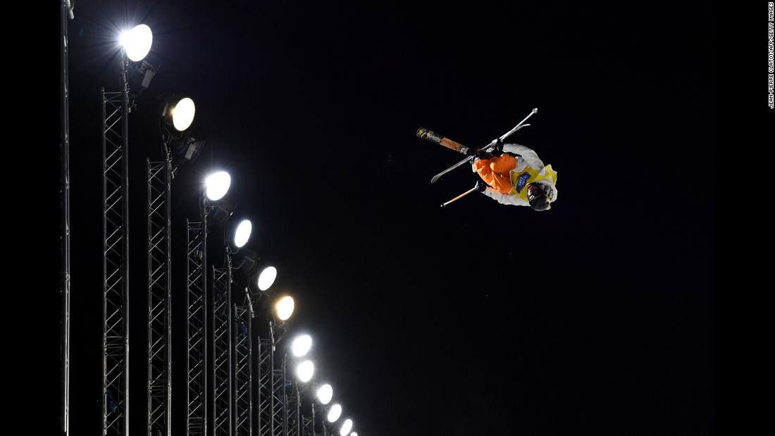 American skier Alex Ferreira competes on the halfpipe during the World Cup final in Tignes, France, on Thursday, March 22. Ferreira finished in second but clinched his first World Cup title. He also won Olympic silver last month.