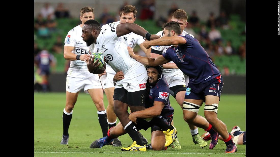 The Sharks' Tendai Mtawarira breaks a tackle during a Super Rugby game in Melbourne on Friday, March 23.