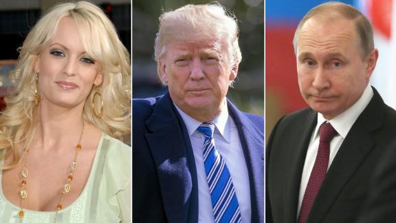 Stormy Daniels, Donald Trump and Vladimir Putin