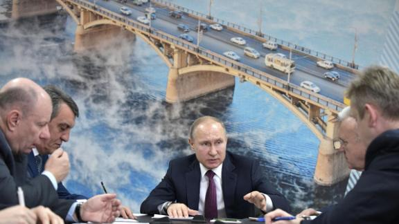 Russian President Vladimir Putin (C) gestures as he holds a meeting on the environmental situation in the Krasnoyarsk Territory in Krasnoyarsk on February 7, 2018. / AFP PHOTO / Sputnik / Alexey NIKOLSKY        (Photo credit should read ALEXEY NIKOLSKY/AFP/Getty Images)