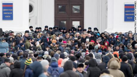 Residents rally in front of the Kemerovo municipal building on Tuesday.