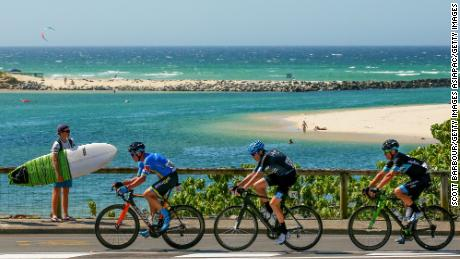 Cyclists compete during the road race test event in the Gold Coast.