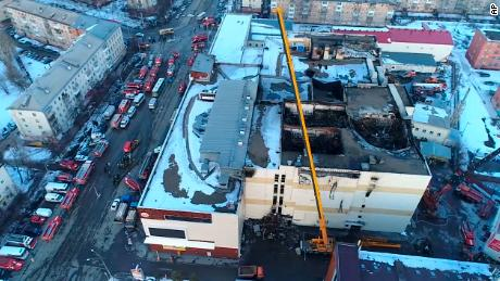An aerial view of the multistory shopping mall after Sunday's fire.