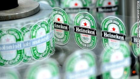 A view of Heineken beer bottle labels at the Heineken brewery in Mons-en-Baroeul, run by the Heineken France group, on April 2, 2014.  AFP PHOTO / PHILIPPE HUGUEN / AFP PHOTO / Philippe HUGUEN        (Photo credit should read PHILIPPE HUGUEN/AFP/Getty Images)