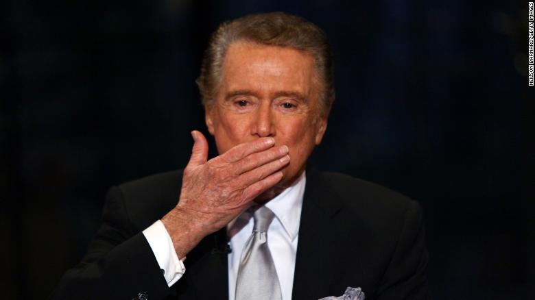 "Regis Philbin on set during his final appearance on""Live with Regis & Kelly""  in New York City on November 18, 2011."