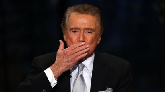 """Regis Philbin on set during his final appearance on""""Live with Regis & Kelly""""  in New York City on November 18, 2011."""