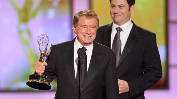 Regis Philbin and Jimmy Kimmel on stage at the 35th Annual Daytime Emmy Awards in Los Angeles, California, on June 20, 2008.