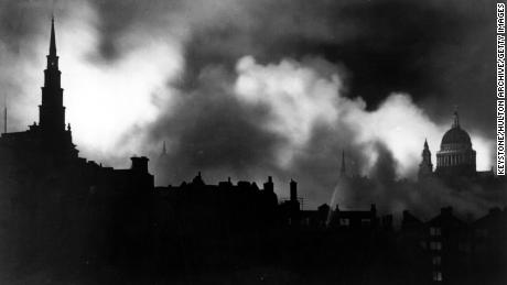 London during the Blitz - the systematic night-time bombing of the British by the Luftwaffe in 1940 - 1941.  The dome of St Paul's Cathedral is on the right.   (Photo by Keystone/Getty Images)
