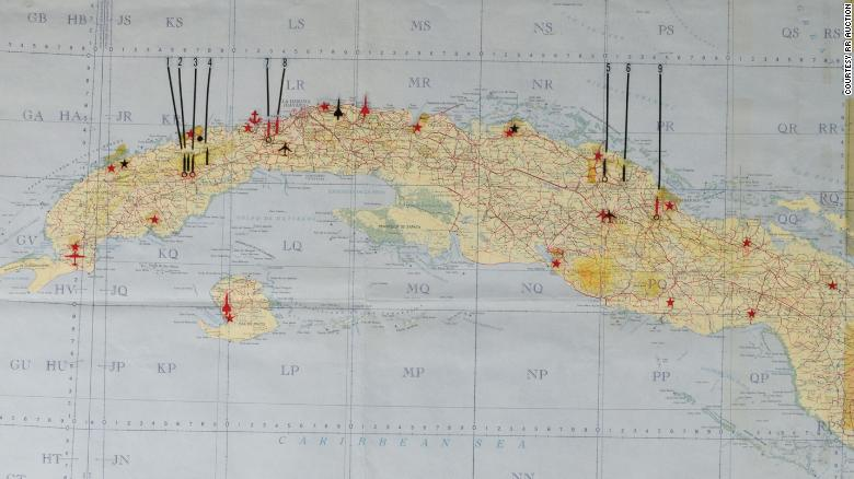 the 1962 map shows nine potential us targets in cuba