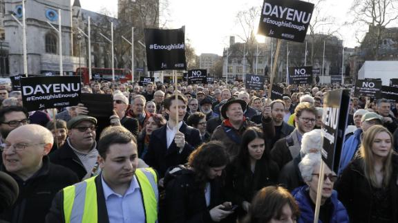 Members of the Jewish community hold a protest against Britain's opposition Labour party leader Jeremy Corbyn and anti-semitism in the  Labour party.