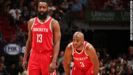 Could MVP candidate James Harden, left, and Chris Paul of the Rockets dethrone the Warriors?