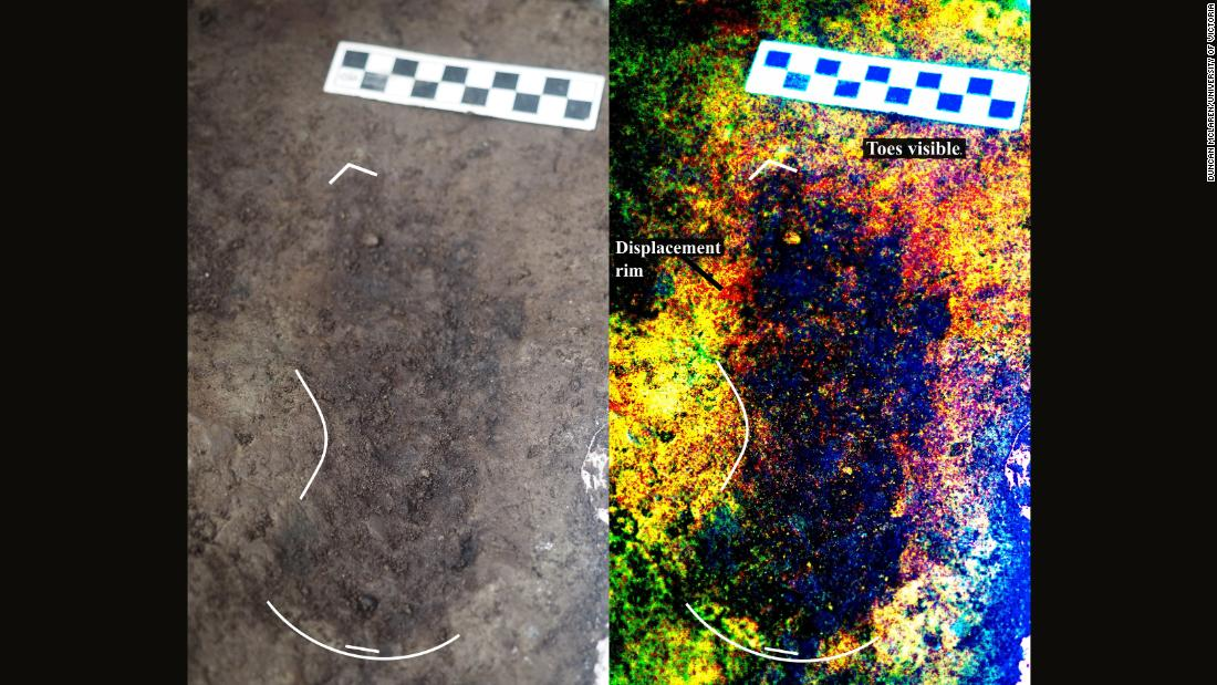 On the left is a 13,000-year-old footprint as found in the sediment on Calvert Island, off the Canadian Pacific coast. On the right is a digitally enhanced image, showing details of the footprint.