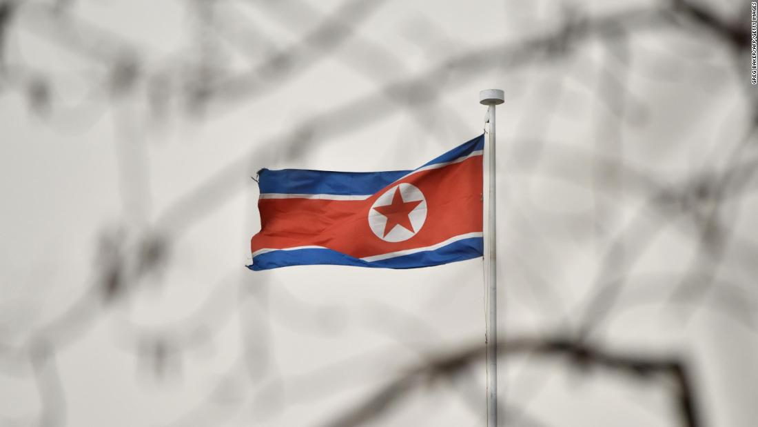 The North Korean flag flies above the North Korean embassy in Beijing on March 28, 2018. (GREG BAKER/AFP/Getty Images)