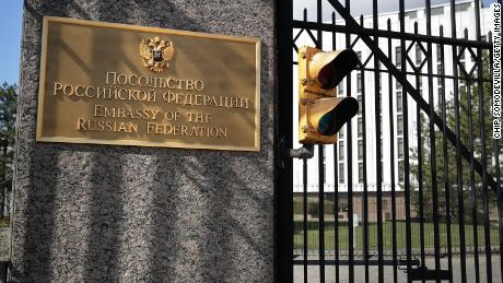 WASHINGTON, DC - MARCH 26:  A brass plaque written in English and Cyrillic at the front gate of the Embassy of the Russian Federation March 26, 2018 in Washington, DC. (Chip Somodevilla/Getty Images)