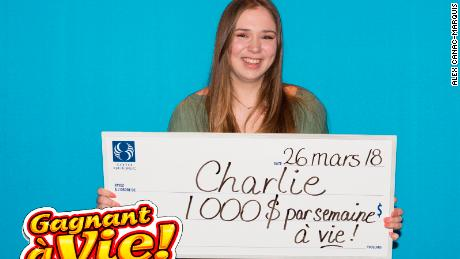 Charlie Lagarde,18, won the Gagnant à Vie lottery on her first try.