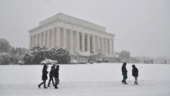 Washington, D.C.: In March, visitors gather outside The Lincoln Memorial in the US capital as the fourth nor