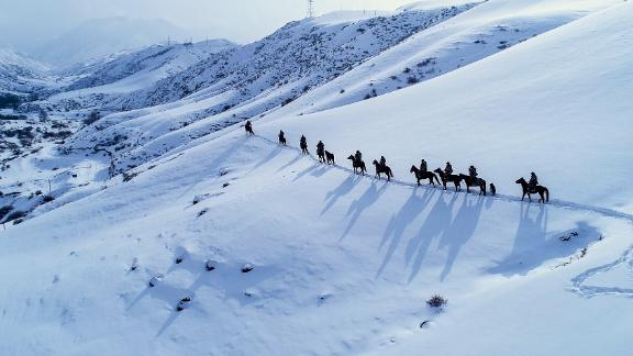 Xinjiang, China: On a cold February day during the Spring Festival holiday in northwest China