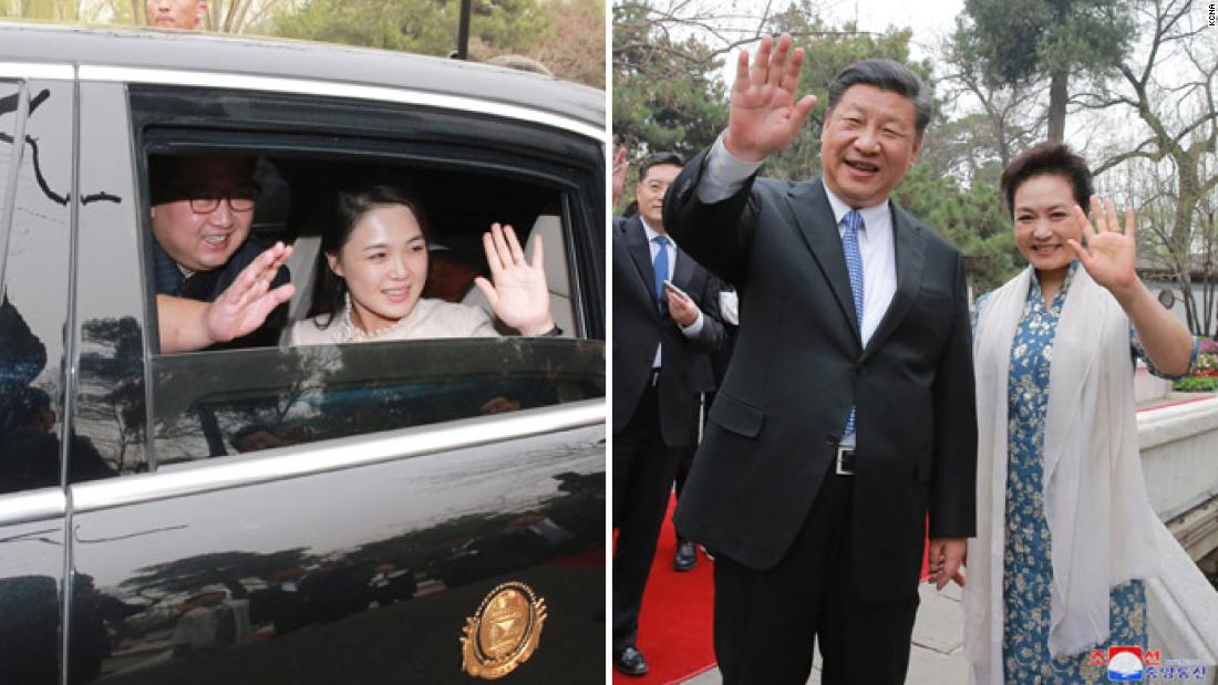 Kim and Ri wave to Xi and Peng as they leave Beijing following a successful visit to China, Kim's first official summit with another head of state.