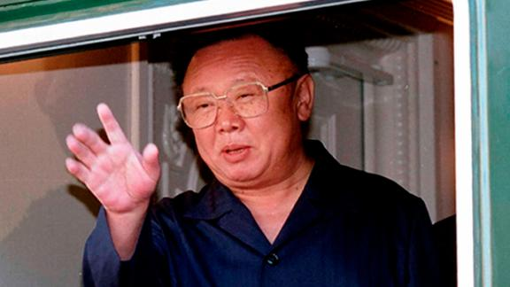 Former North Korean leader Kim Jong Il at the Russian border in August 2002.