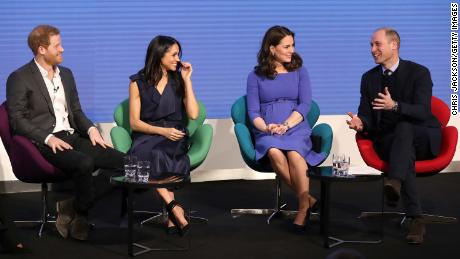 Prince Harry, Meghan Markle, Catherine, Duchess of Cambridge, and Prince William attend the first annual Royal Foundation Forum on February 28 in London.