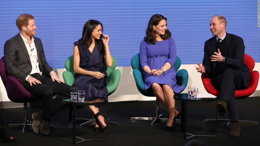 Prince Harry, Meghan Markle, Catherine, Duchess of Cambridge, and Prince William, Duke of Cambridge, attend the first annual Royal Foundation Forum in London on February 28.