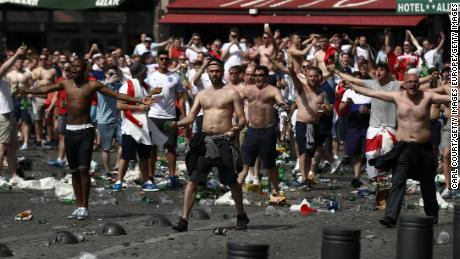 England and Russia fans clash in Marseille ahead of their group stage match at Euro 2016.