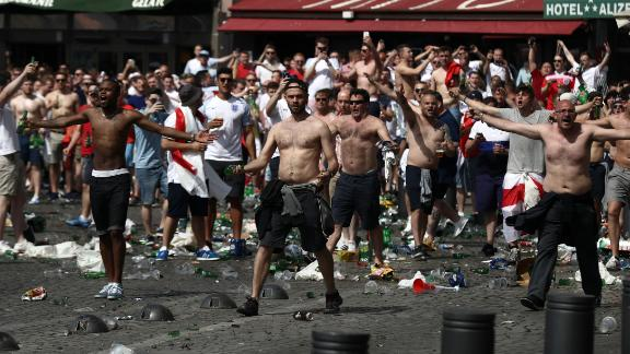 England and Russia fans clash in Marseille, France, ahead of their group stage match in the 2016 European football championship.