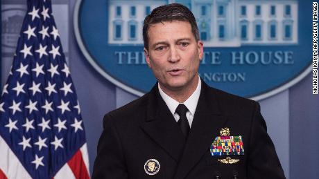 White House physician Rear Admiral Ronny Jackson speaks at the press briefing at the White House in Washington, DC, on January 16, 2018. / AFP PHOTO / NICHOLAS KAMM        (Photo credit should read NICHOLAS KAMM/AFP/Getty Images)