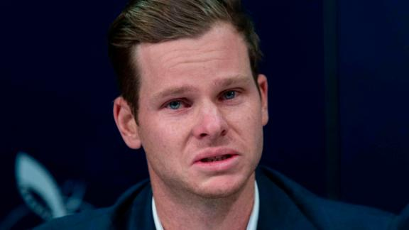 An emotional Smith confronts the media at Sydney International Airport on March 29, 2018.