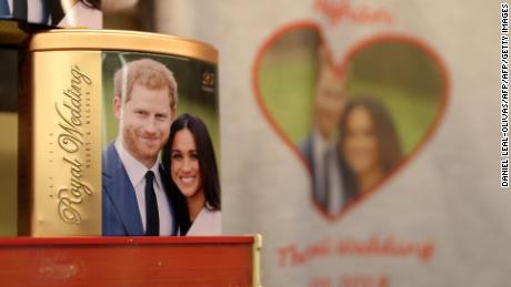 Memorabilia celebrating the engagement of Britain's Prince Harry to fiancee US actress Meghan Markle are pictured for sale in a gift shop in Windsor, west of London on March 28, 2018. Britain's Prince Harry and US actress Meghan Markle will marry on May 19 at St George's Chapel in Windsor Castle. / AFP PHOTO / Daniel LEAL-OLIVASDANIEL LEAL-OLIVAS/AFP/Getty Images