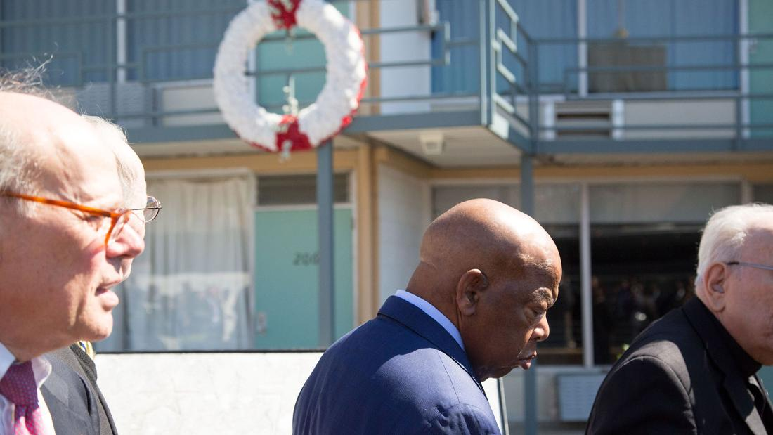 "Rep. John Lewis, a leader in the civil rights movement, stands outside room 306 at the Lorraine Motel to mark the 50th anniversary of King's death.<br />""When he died, I think something died in all of us. Something died in America,"" Lewis says. ""Each day, I think we must find a way to dream the dream that he dreamed. And build on what he left all of us."""