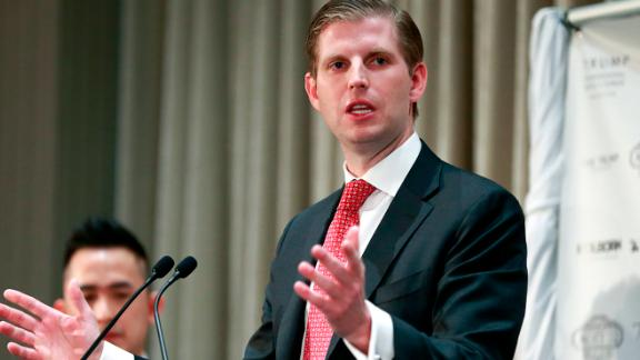 VANCOUVER, BRITISH COLUMBIA - FEBRUARY 28: Eric Trump delivers a speech during a ceremony for the official opening of the Trump International Tower and Hotel on February 28, 2017 in Vancouver, Canada. The tower is the Trump Organization's first new international property since Donald Trump assumed the presidency. (Photo by Jeff Vinnick/Getty Images)