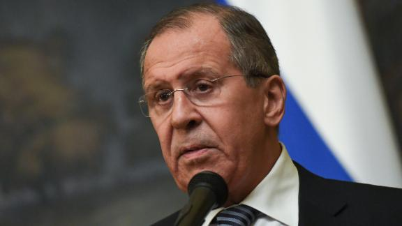 Russian Foreign Minister Sergei Lavrov makes a statement on the decision to expel 60 US diplomats and close its consulate in Saint Petersburg in a tit-for-tat expulsion over the poisoning of ex-double agent Sergei Skripal, in Moscow on March 29, 2018. / AFP PHOTO / Yuri KADOBNOV        (Photo credit should read YURI KADOBNOV/AFP/Getty Images)