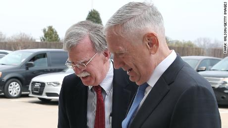 U.S. Secretary of Defense Jim Mattis (R), greets Amb. John Bolton upon his arrival for a meeting at the Pentagon, on March 29, 2018 in Arlington, Virginia. President Trump has picked Bolton to be his new National Security Advisor.  (Mark Wilson/Getty Images)