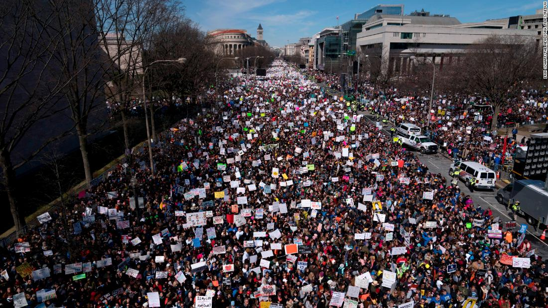 "A crowd gathers in Washington for the <a href=""https://www.cnn.com/interactive/2018/03/us/march-for-our-lives-cnnphotos/index.html"" target=""_blank"">March for Our Lives rally</a> on Saturday, March 24. Survivors of <a href=""https://www.cnn.com/interactive/2018/02/us/florida-school-shooting-cnnphotos/index.html"" target=""_blank"">last month's school shooting in Florida</a> led the protest, calling for stricter gun-control legislation. Hundreds of sister marches took place across the country and around the world."
