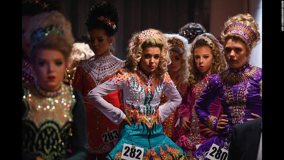 Competitors gather for the World Irish Dancing Championships on Monday, March 26. The event is taking place this week in Glasgow, Scotland.