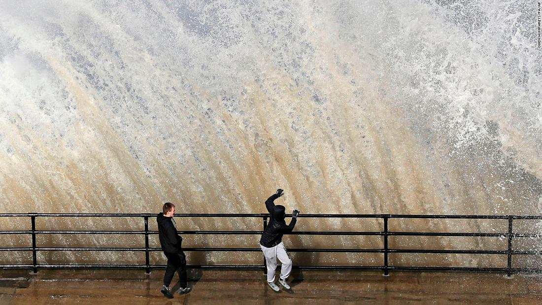 A giant wave crashes near Cullercoats, on the northeast coast of England, on Thursday, March 29.
