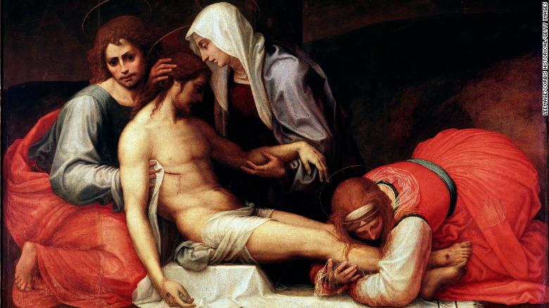 People tend to overlook the women in the New Testament, scholars say. In this painting, women help prepare Jesus' body for burial.